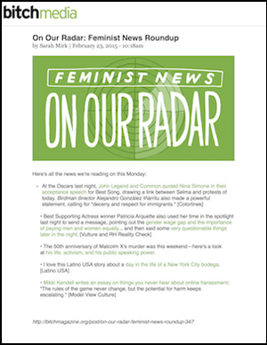 Bitch Magazine - On Our Radar Feminist News Roundup